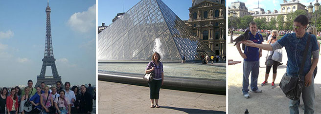 Northeast students visiting France's Eiffel Tower and the Louvre.